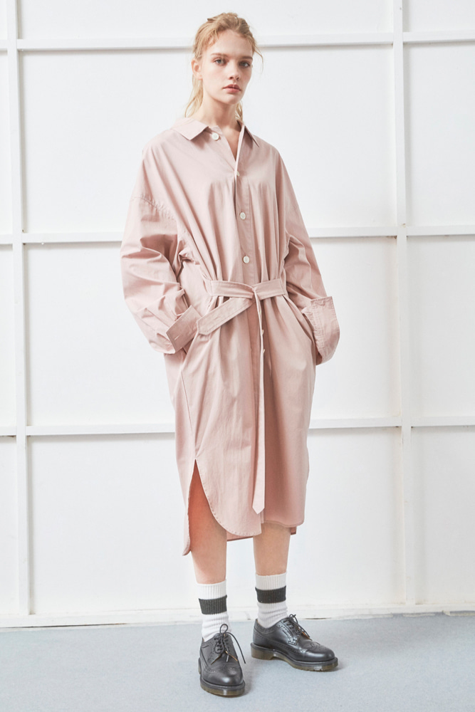 BELTED LONG SHIRT PINK