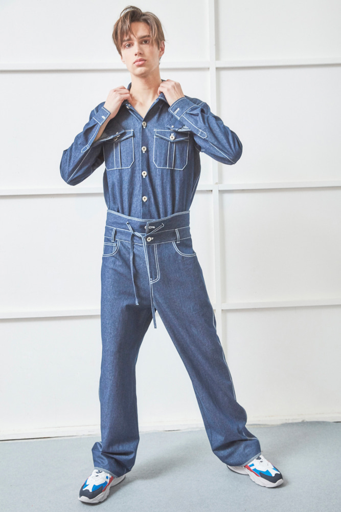 UNISEX UNIFORM DENIM JUMPSUIT BLUE