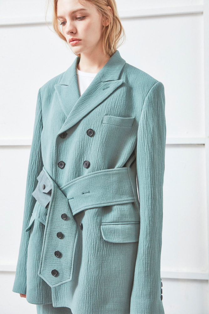 BELTED TAILORED JACKET GREEN