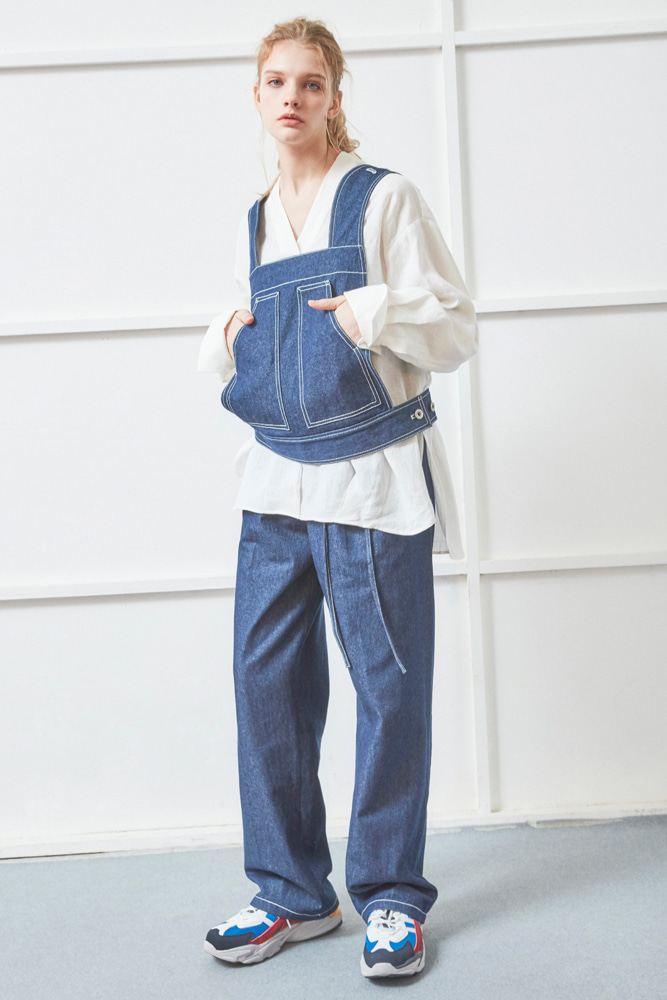 STRUCTURED DENIM VEST BLUE