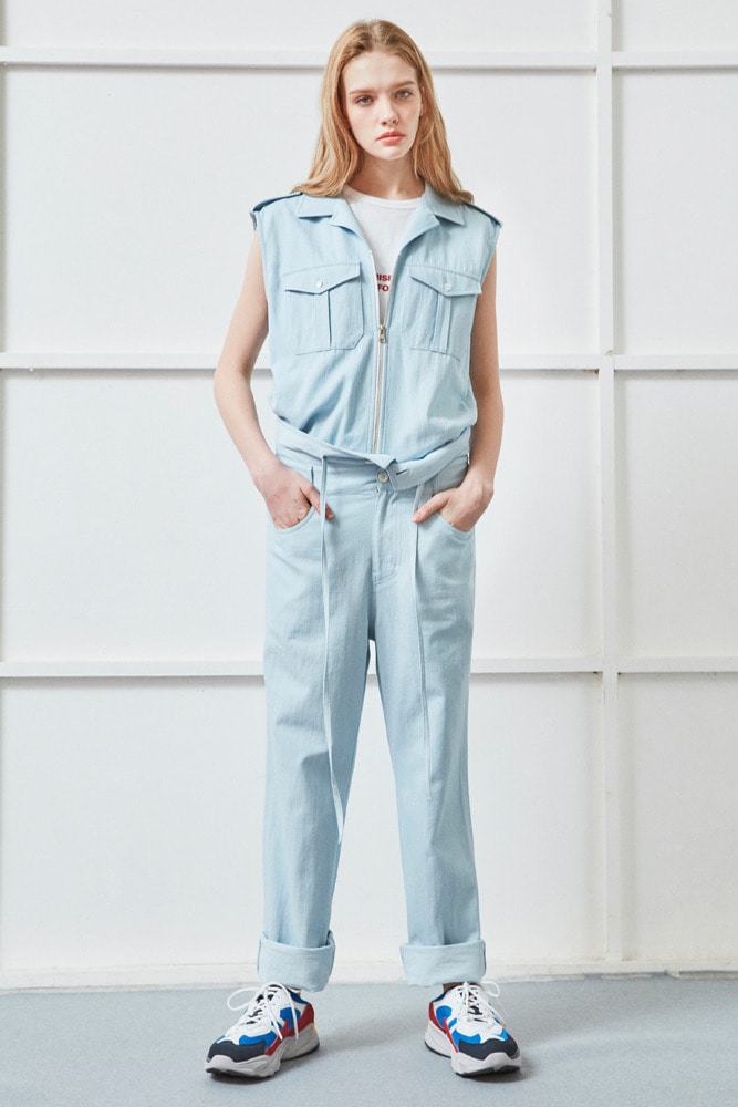 SLEEVELESS FRONT ZIPPER DENIM JUMPSUIT BLUE