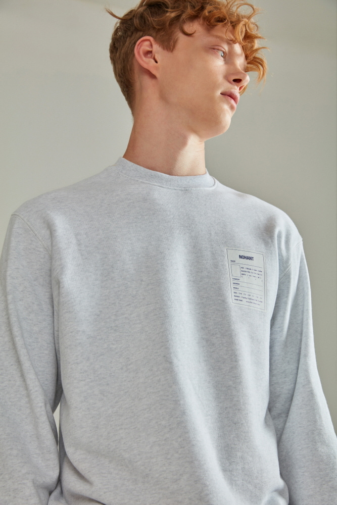 NAME LABEL SWEATSHIRT LIGHT GRAY
