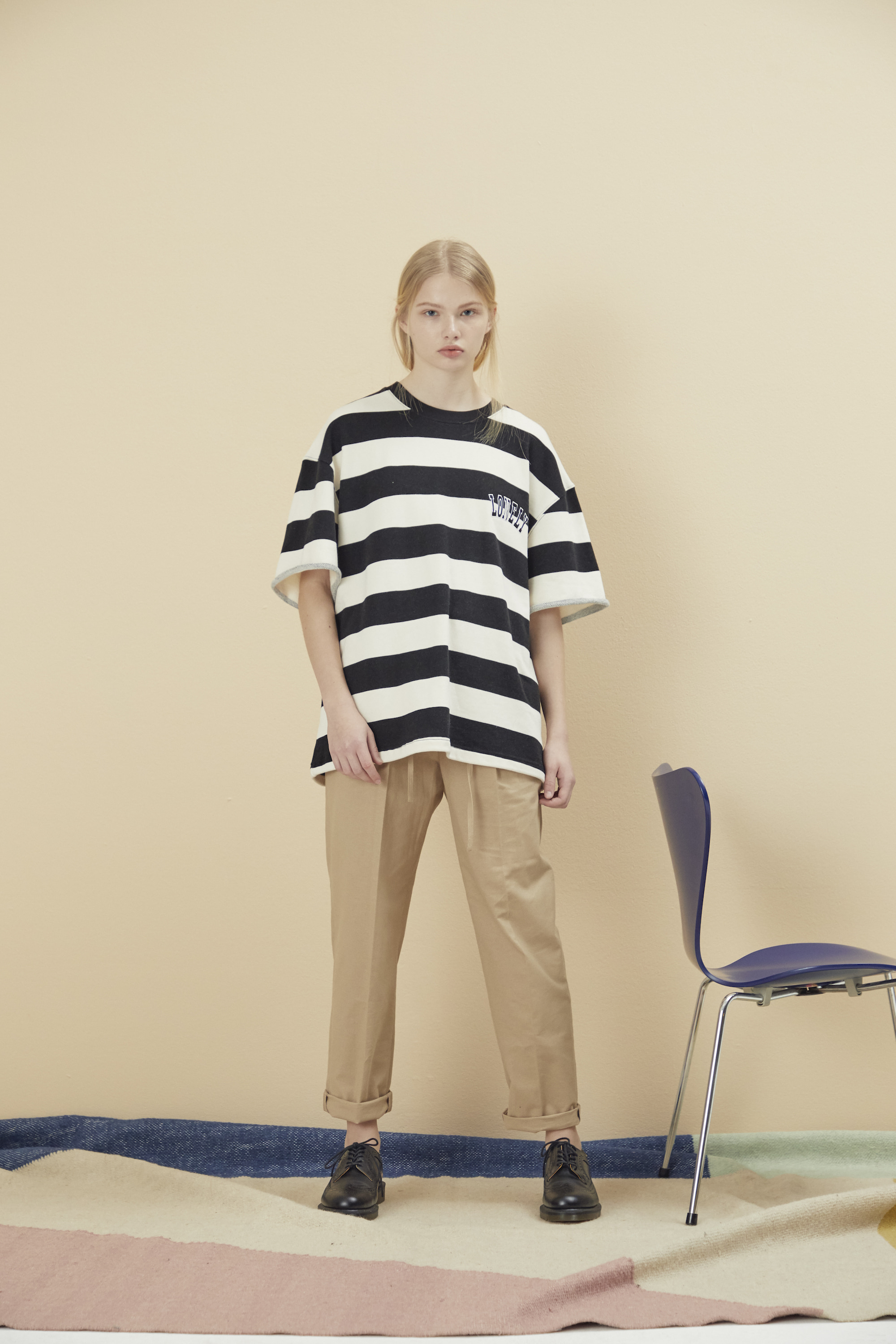 LONELY/LOVELY CROPPED STRIPE SWEATSHIRT BLACK