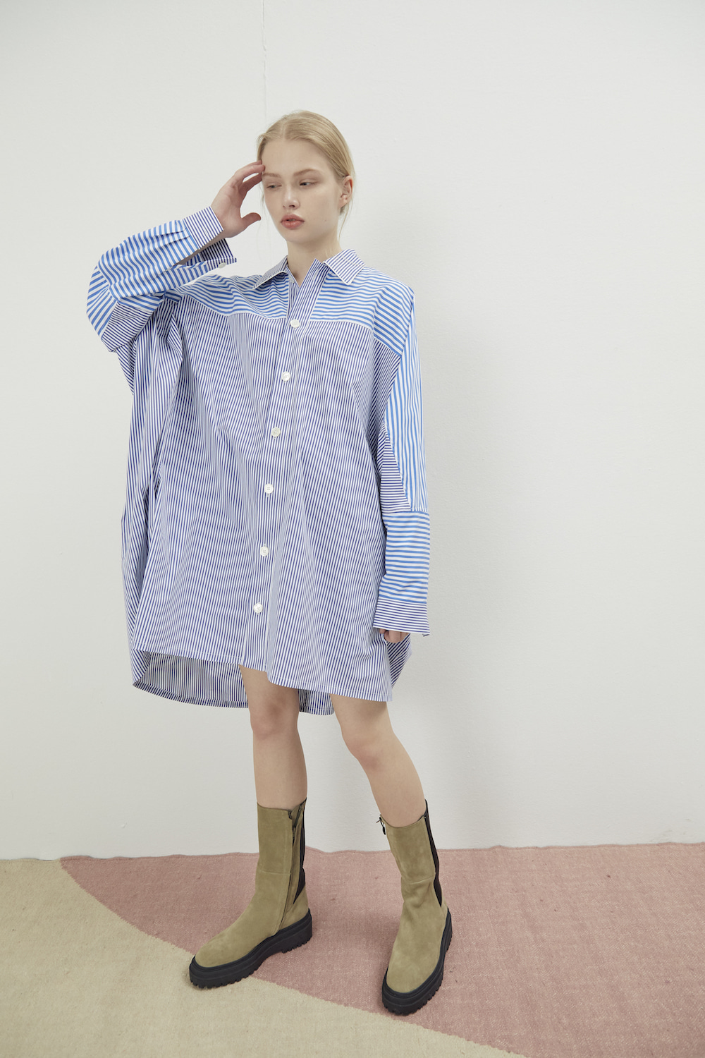 PAJAMA LONG SHIRT STRIPE-BLUE