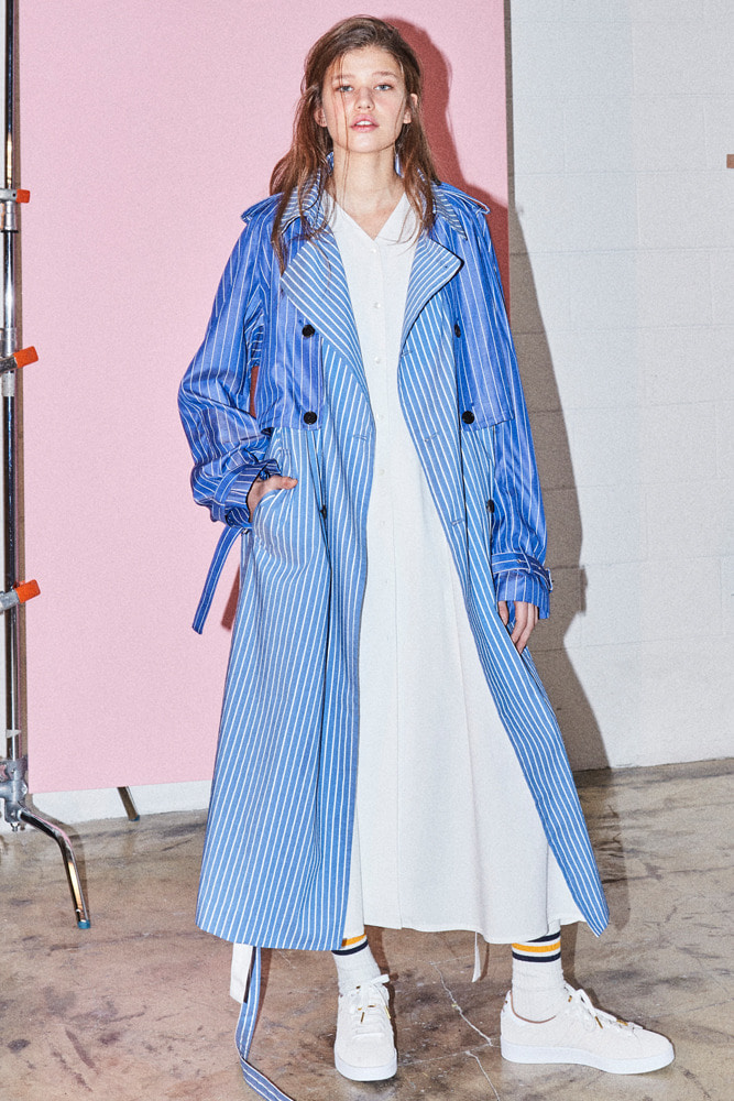 DETACHABLE TRENCH-COAT STRIPE-BLUE