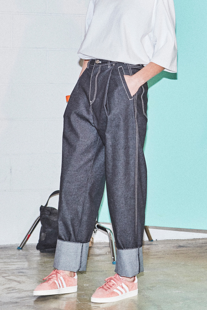 DO-NOT-REVERSE COTTON PANTS DENIM BLACK