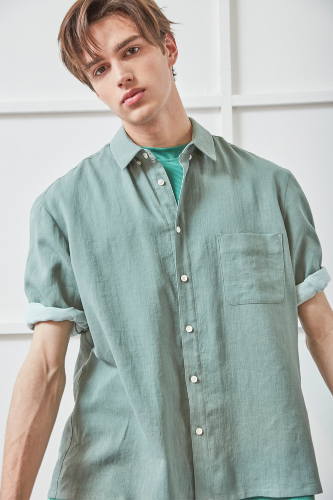 WIDE CUFFS SHORT SLEEVE LINEN SHIRT GREEN