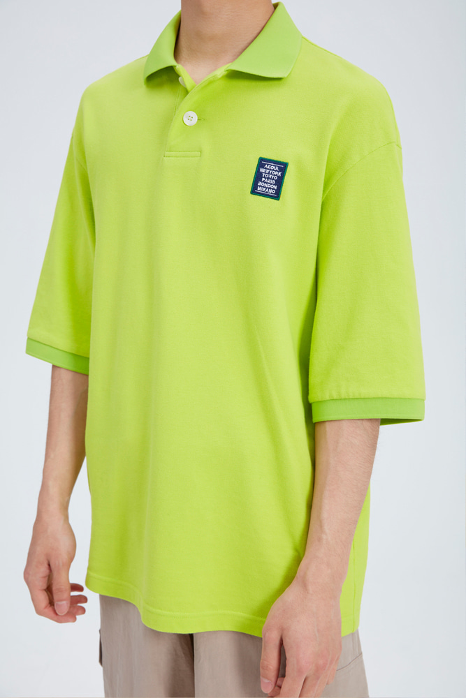 LOVE CITY WAPPEN PIQUE SHIRT LIME