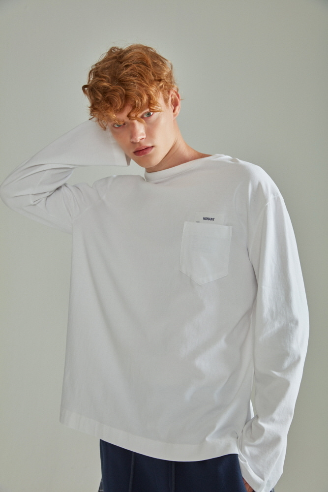 BASIC POCKET LABEL LONG SLEEVE T SHIRT WHITE