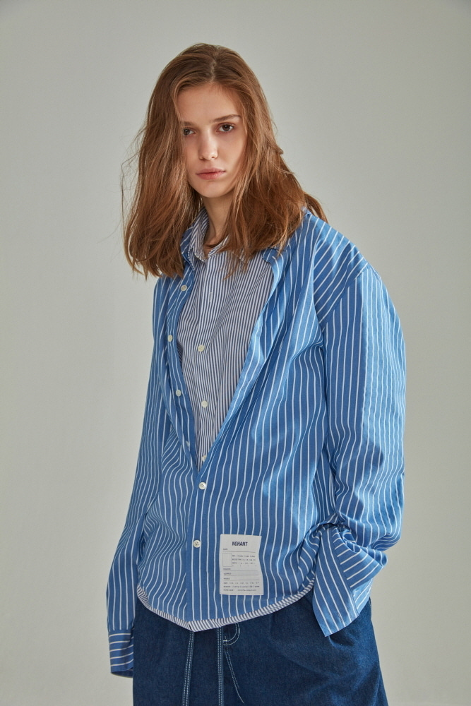 DOUBLE LAYER LABEL SHIRT STRIPE BLUE