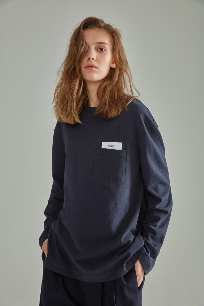 BASIC POCKET LABEL LONG SLEEVE T SHIRT NAVY