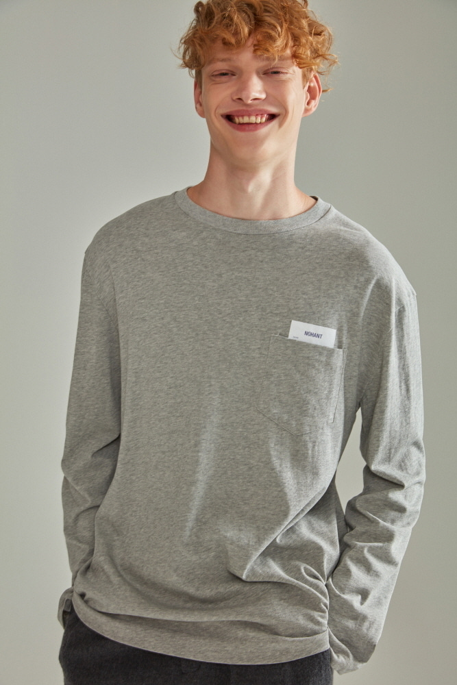 BASIC POCKET LABEL LONG SLEEVE T SHIRT GRAY