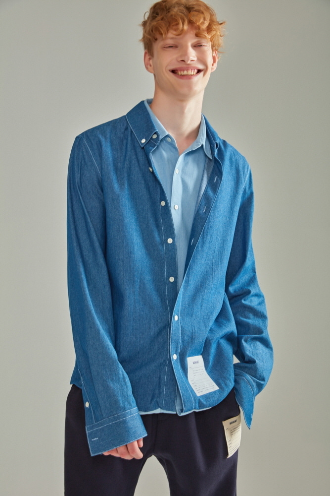 DOUBLE LAYER LABEL SHIRT DENIM