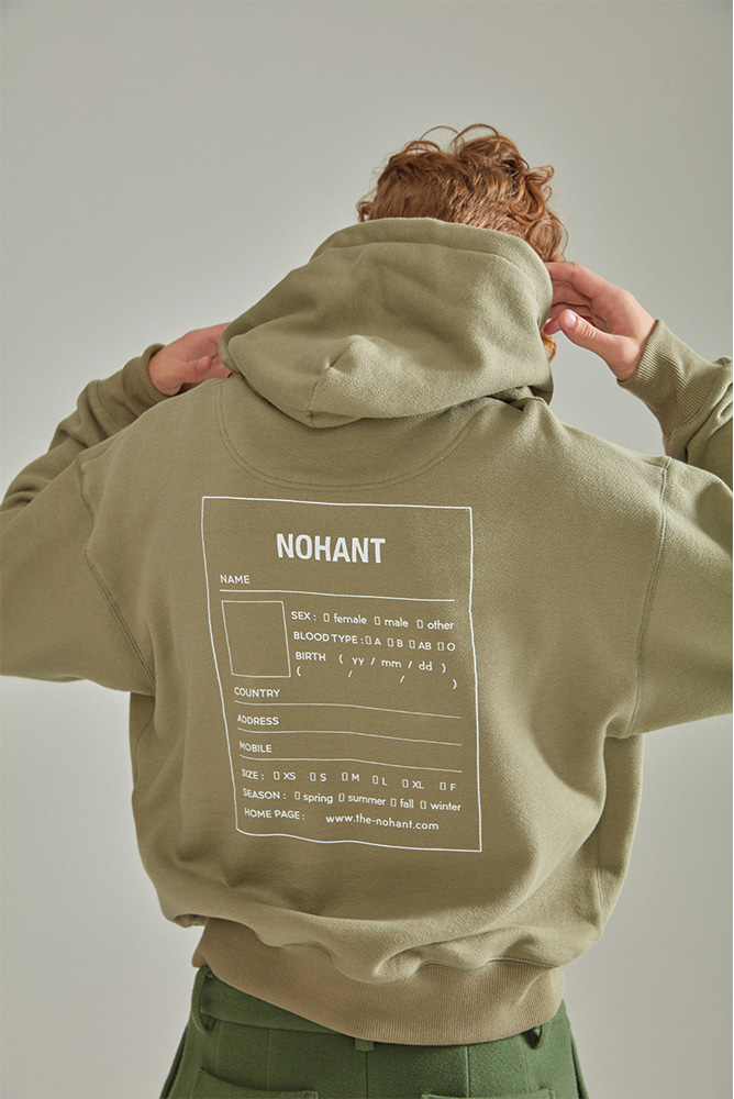 OVERSIZED NAME LABEL HOODIE KHAKI
