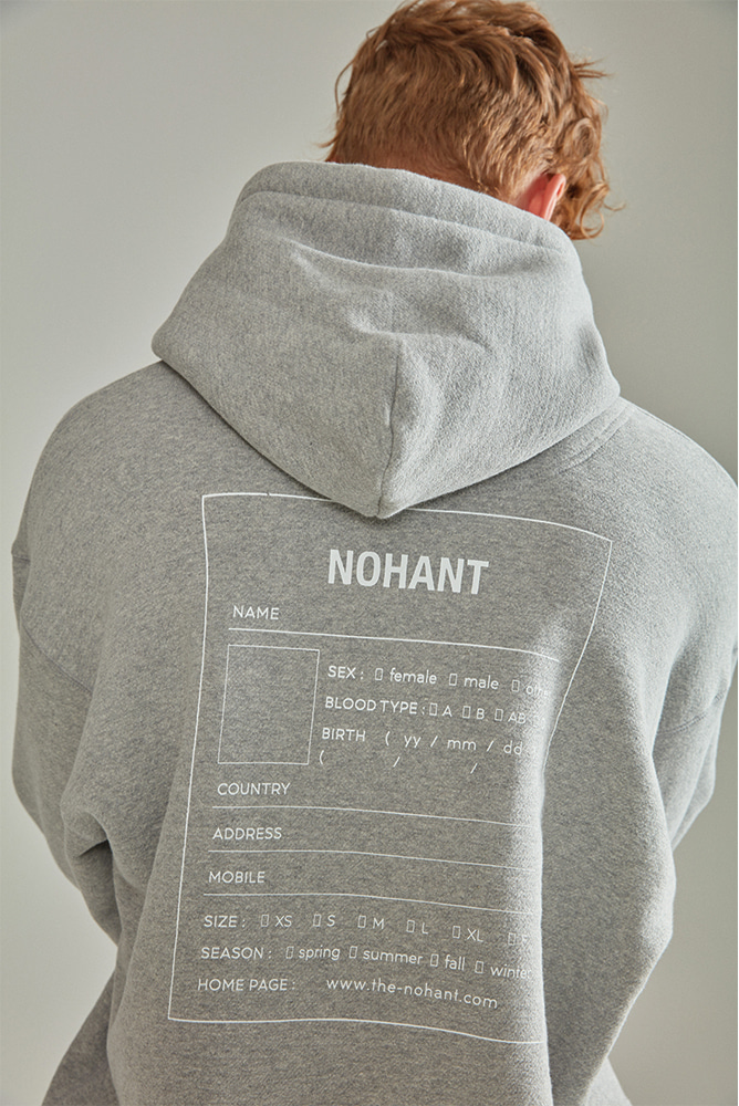 OVERSIZED NAME LABEL HOODIE GRAY