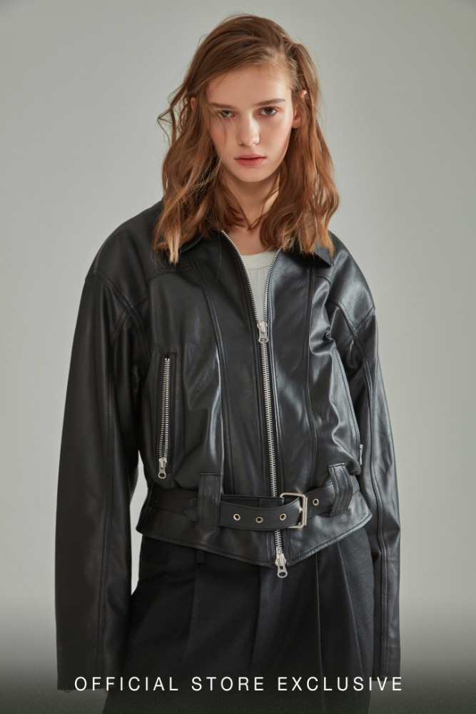 OVERSIZED SHOULDER LEATHER JACKET BLACK