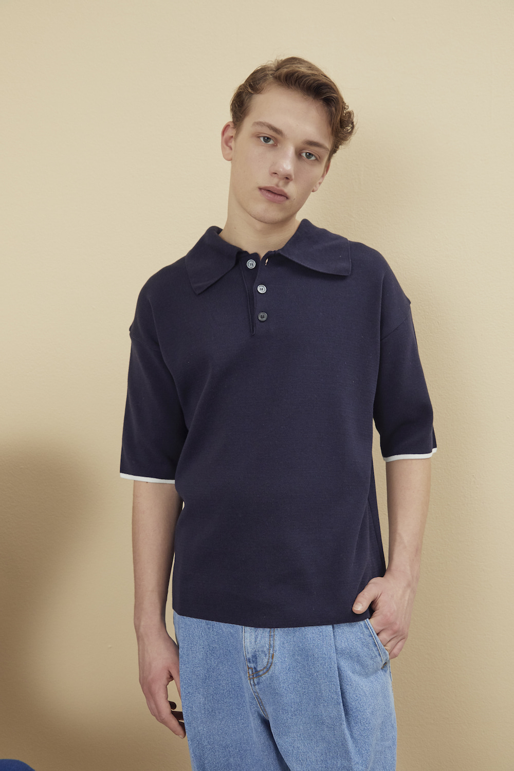 KNITTED COLLAR PIQUE SHIRT NAVY