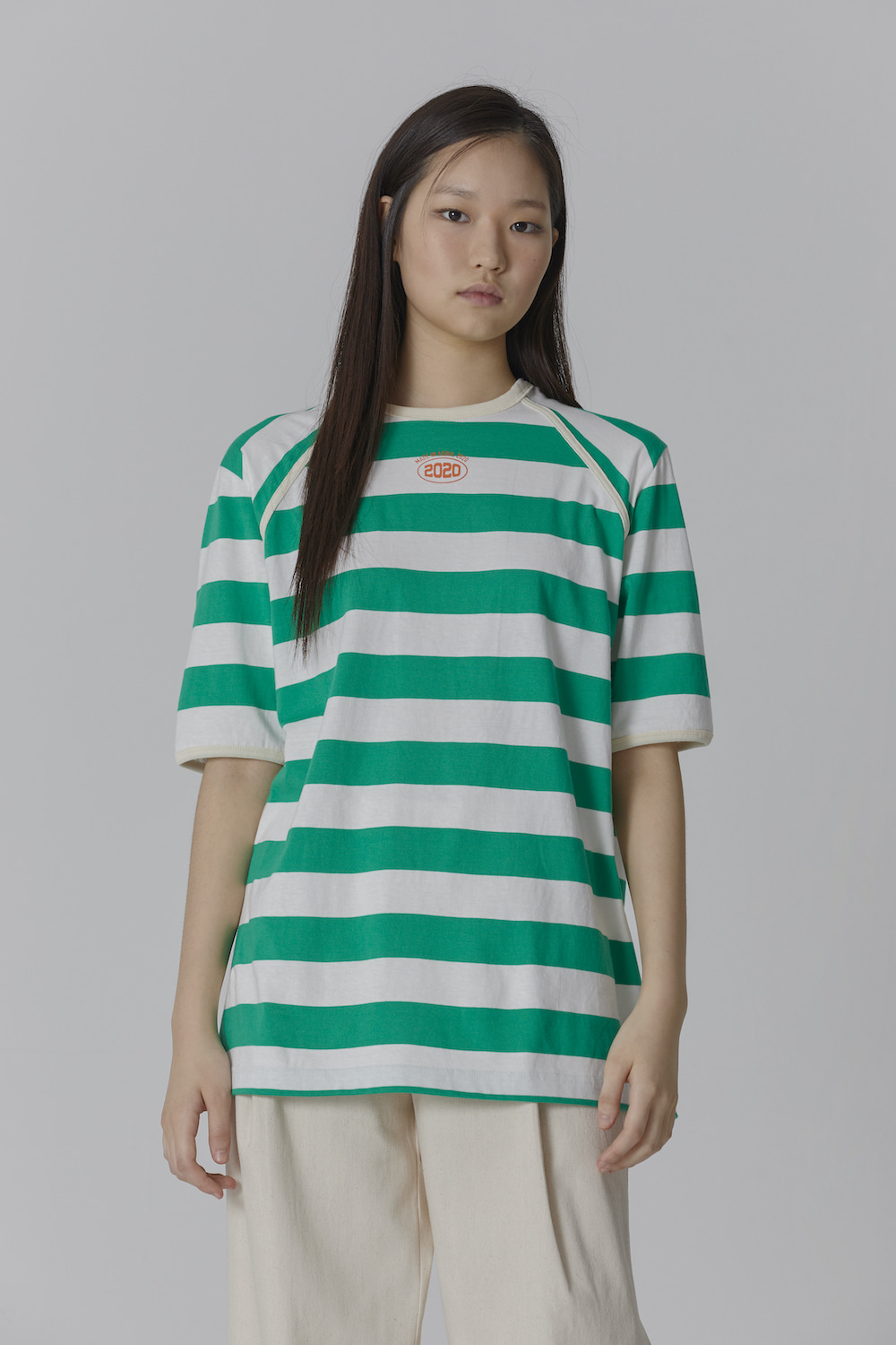COLOR TAPING 2020 STRIPE T SHIRT GREEN