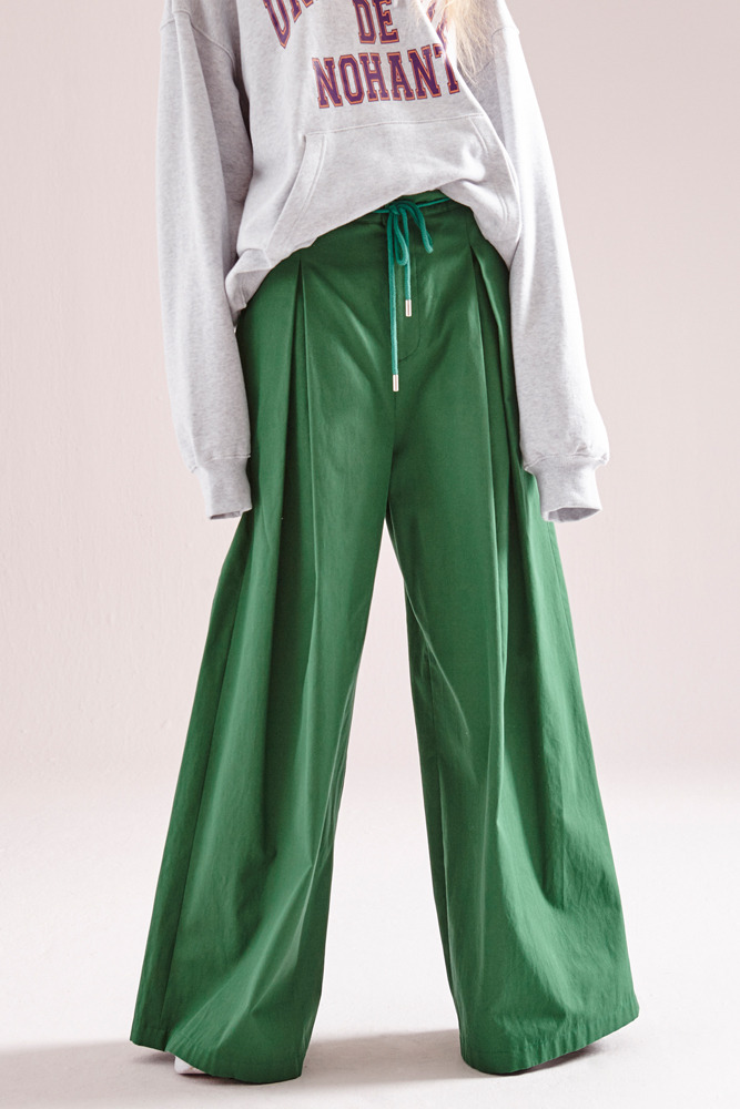 MAXI COTTON WIDE PANTS GREEN