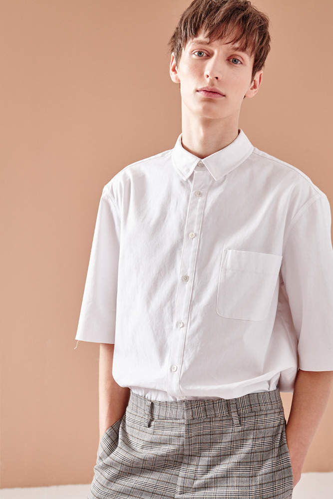 CROPPED SHORT SLEEVE SHIRT WHITE