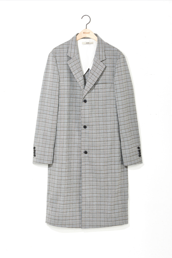 3 BUTTON CHECK COAT GRAY