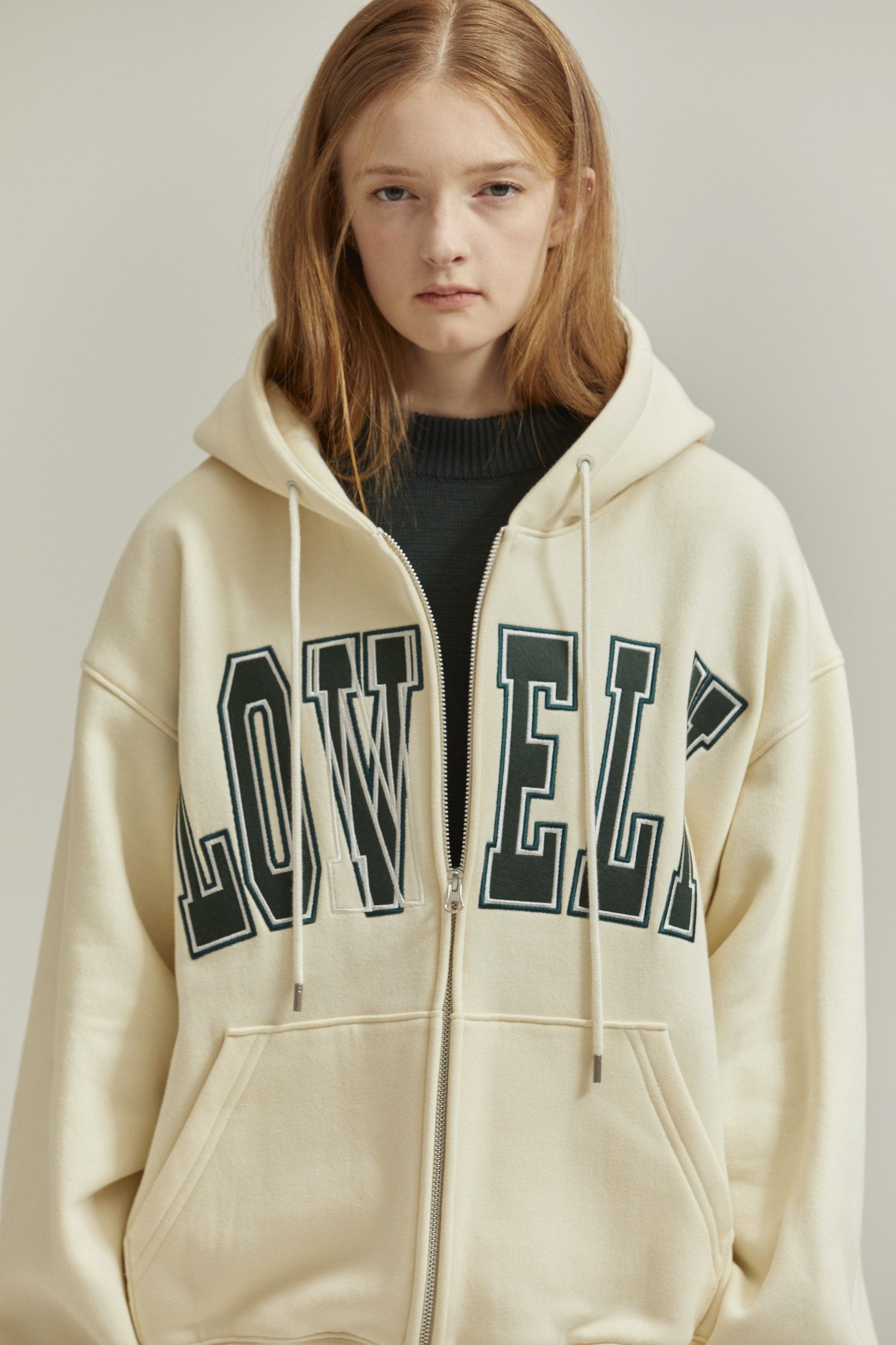 [재입고] LONELY/LOVELY HOODIE ZIP-UP IVORY