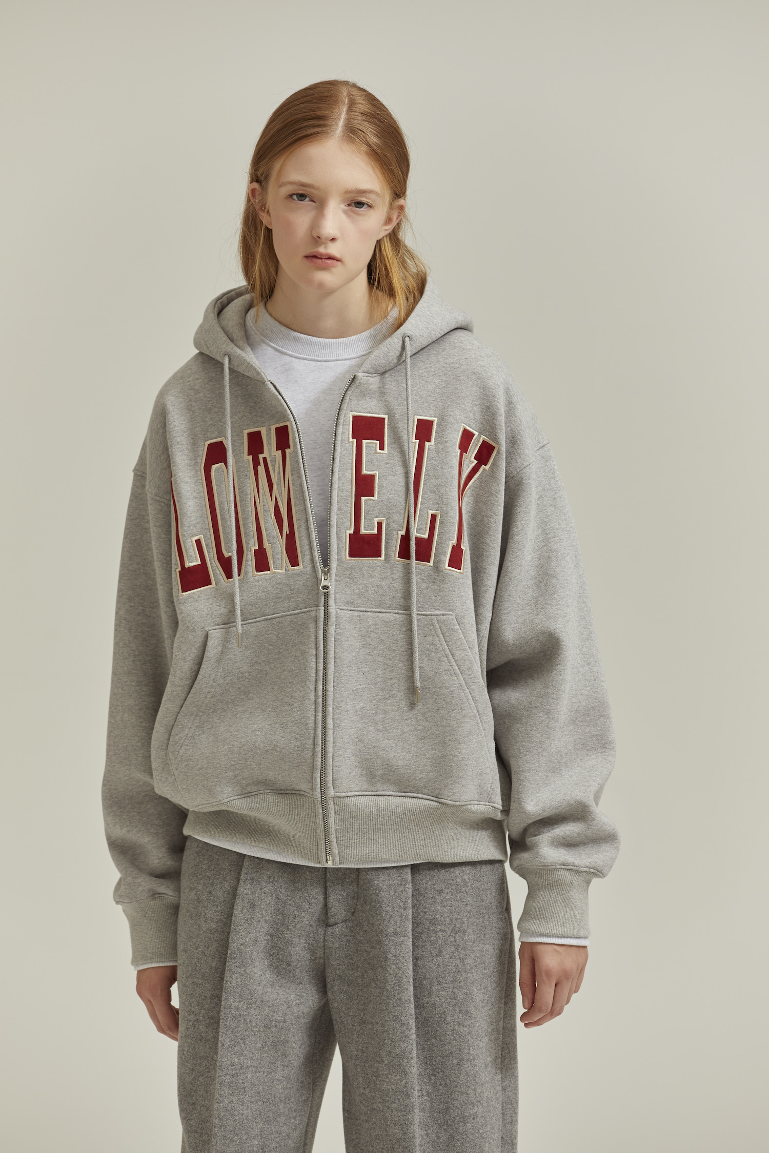 [재입고] LONELY/LOVELY HOODIE ZIP-UP GRAY