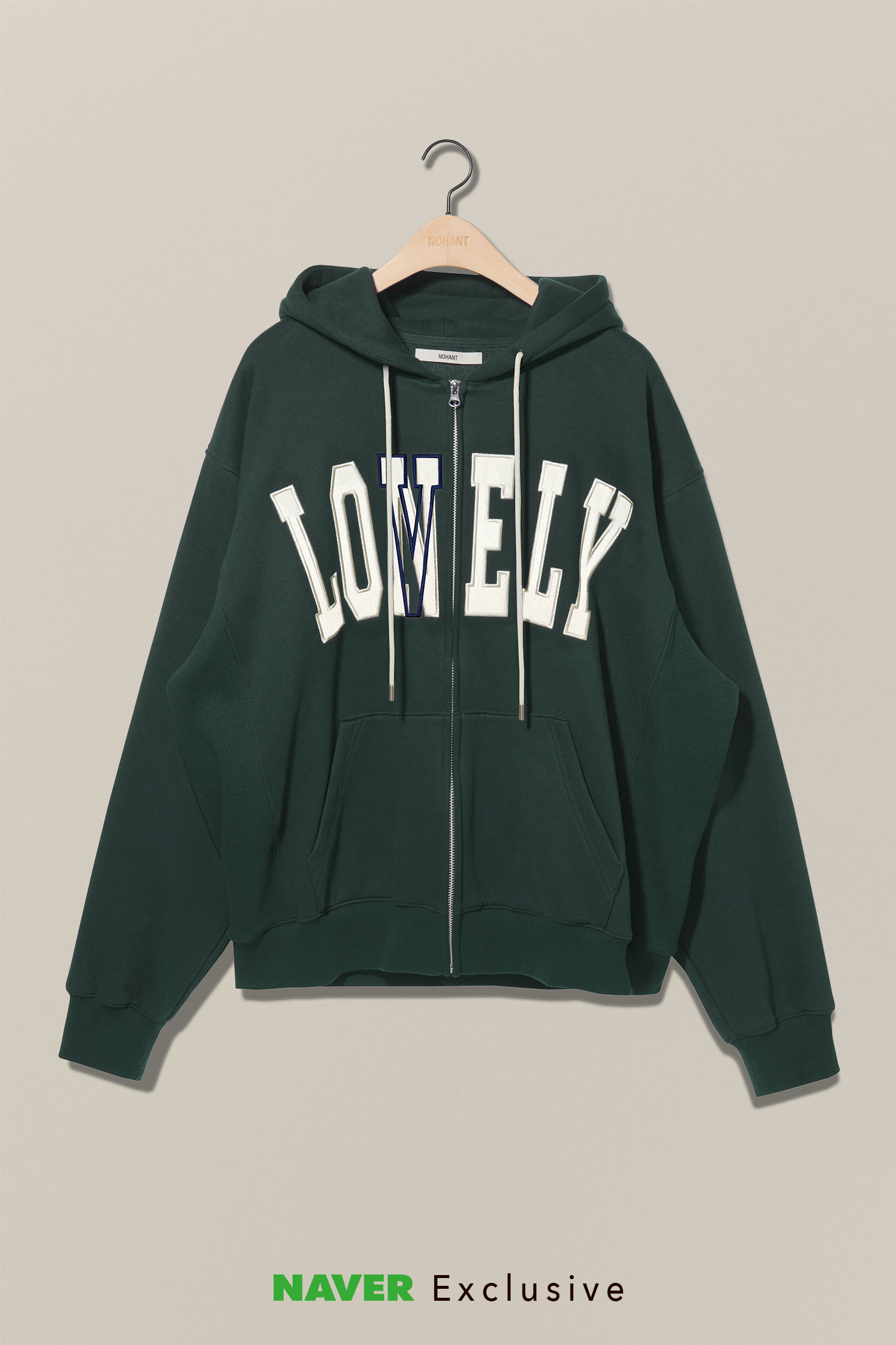 [NAVER EXCLUSIVE] LONELY/LOVELY HOODIE ZIP-UP GREEN