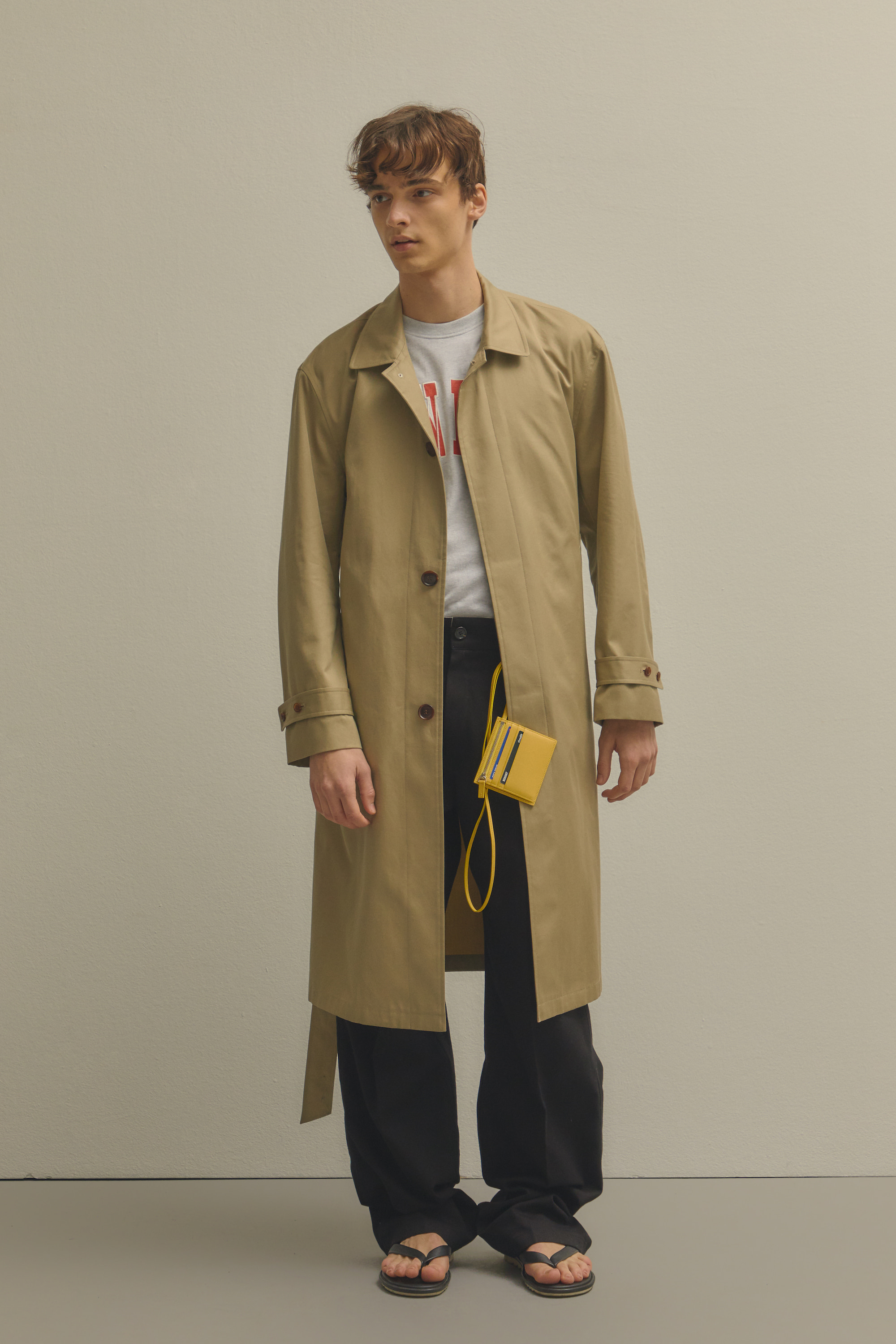 DETACHABLE HOODED SINGLE TRENCH COAT BEIGE